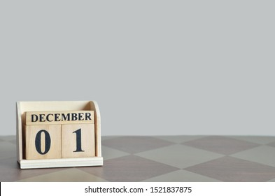 Empty Background with number cube on the table, December 1.