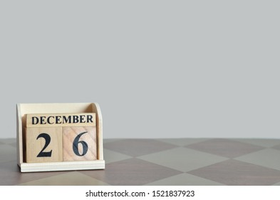 Empty Background with number cube on the table, December 26.