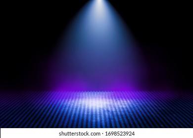 Empty background scene. Dark Interior room. Rays of neon light in the dark, neon figures, smoke. Background of empty stage show. Abstract dark background. - Shutterstock ID 1698523924