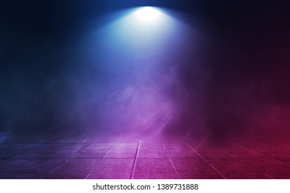 Empty background scene. Dark reflection of the street on the wet asphalt. Rays of neon light in the dark, clouds of smoke, fog. Night view of the street. Abstract dark background.