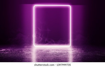 Empty background scene. Dark street, a reflection of a rectangle on the wet asphalt. Neon light in the dark, smoke. Night view of the street, the city. Abstract dark purple background.