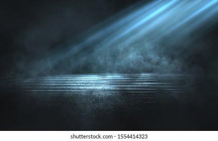 Empty background scene. Dark street reflection on the wet pavement, smoke. Abstract spotlight.