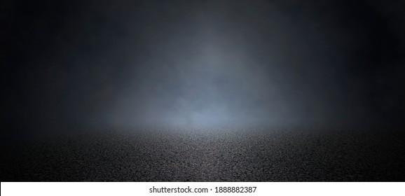 Empty background scene, dark street of asphal on pavement night view of the street the city abstract ,smoke empty dark scene.