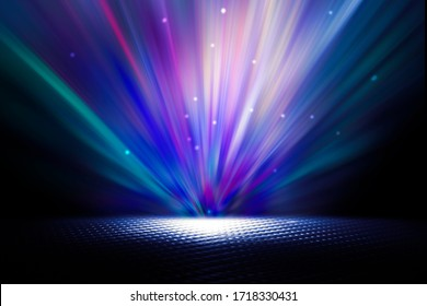 Empty background scene. Texture dark concentrate floor with mist or fog. Spectrum light color.
