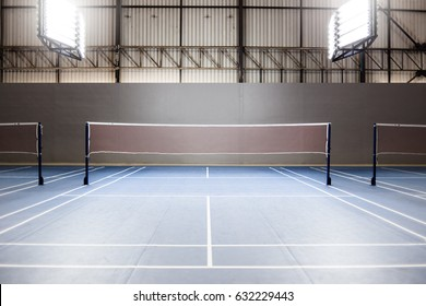 empty badminton court with spot light