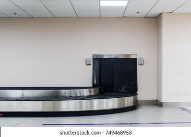 Empty baggage conveyor belt at the airport