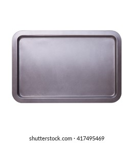 Empty baking tray close up isolated on white top view
