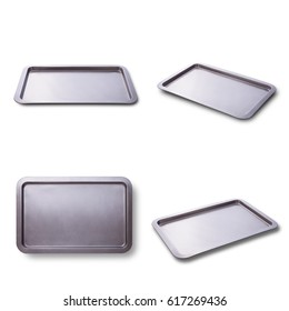 Empty baking tray isolated close up top view square. Set