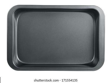 Empty baking tray isolated on white