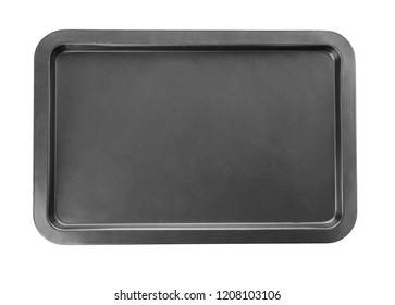 Empty baking tray for oven isolated on white, top view