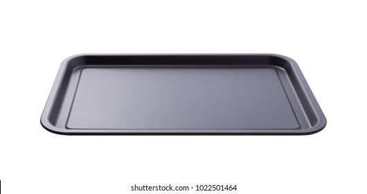 Empty baking tray for pizza close up isolated. Top view horizontally. Mock up for design