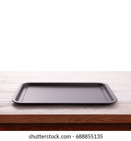 Empty baking tray for pizza close up isolated on white top view square. Mock up for design
