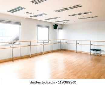 Empty ballet dance room with copy space.