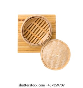 Empty Bamboo Dim Sum basket (chinese style) top view. isolate white background, with clipping paths