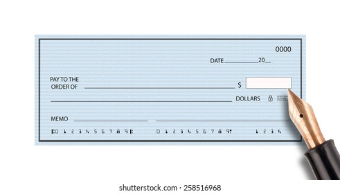 Empty bank check and pen on white background