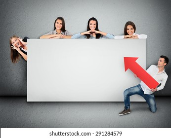 Empty banner with five people