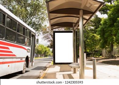 Empty banner on bus station in parque la sabana San Jose Costa Rica