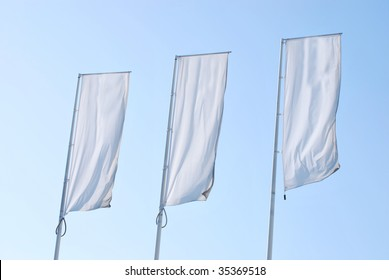 Empty banners over the sky. Blank Space for your text and graphics