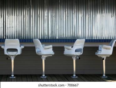 An empty bar in an outdoor cafe.