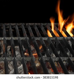 Empty Barbecue Flaming Charcoal Grill With Bright Flames Of Fire Isolated On The Black Square Background, Close-up, Copy Space, Top View.