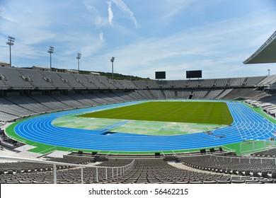 The empty barcelona olympic stadium