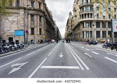 Empty Barcelona street, Catalunya road landscape, Spain. Barcelona city lifestyle. Barcelona road view, city travel concept. Travel and explore Barcelona architecture near big empty highway road