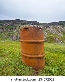 Empty barrel, rusty barrel, the barrel is junk, abandoned barrel. Arctic environmental pollution, tundra, mountain tundra, tundra violation of ecology, disturbed ecosystem