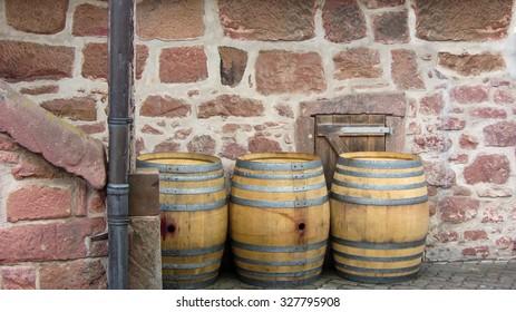 Empty barrels after producing wine