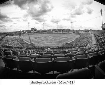 Empty baseball stadium in decay