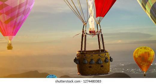 Empty basket hot air balloon beautiful background