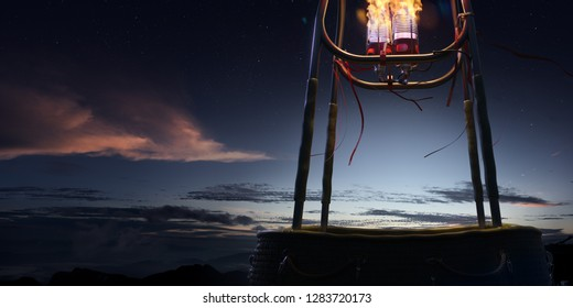 Empty basket hot air balloon beautiful background in night ready for photomanipulation