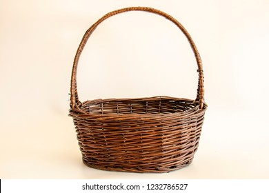 Empty basket item series : brown wicker basketry on soft vintage background space for Christmas and new year gifts