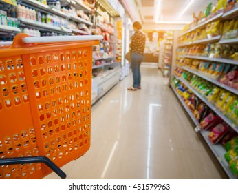 empty basket on shopping cart in supermarket or convenience store