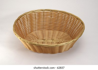 Empty Basket on White Background for  Easy Clipping Path.