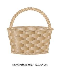 Empty basket on white background. 3D illustration