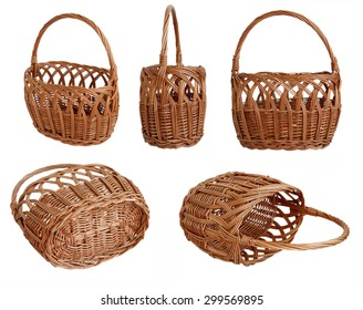 empty basket of twigs. isolated on the white background in different angles