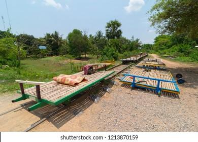 Empty Battambang bamboo train.