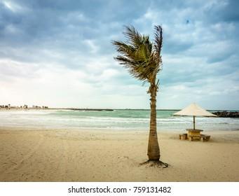 Empty beach at Al Mamzar Beach Park in Dubai, UAE