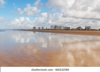 Empty beach Atalaia with view of city on background, Aracaju, Sergipe state, Brazil. Selective focus
