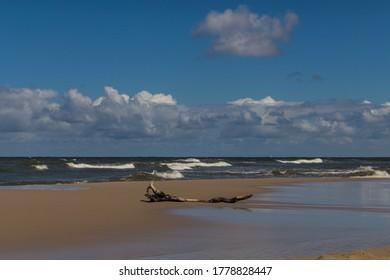 Empty beach at Baltic sea near Wladyslawowo in Poland