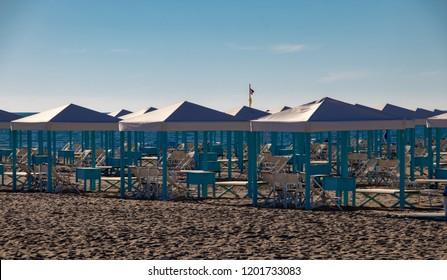 Empty Beach Cabins Along the Beach in Viareggio, Italy