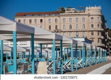 Empty Beach Cabins Lined Up in the Resort Town of Viareggio, Italy