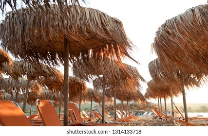 Empty beach early in the morning at Elafonisi Lagoon, Crete Island, Greece