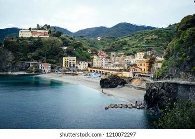 Empty beach of Monterosso al Mare in Liguria, Italy