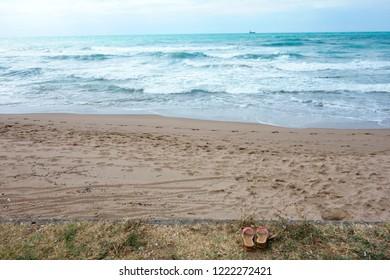 At the empty beach of an ocean