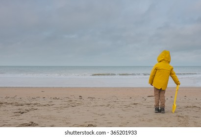 Empty beach on Belgian North Sea with room for text