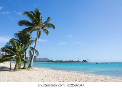 Empty beach park with blue sky on a sunny day, Ala Moana beach park