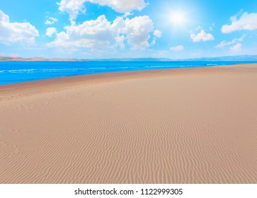 Empty beach with sand dunes waves - Sarigerme, Dalaman
