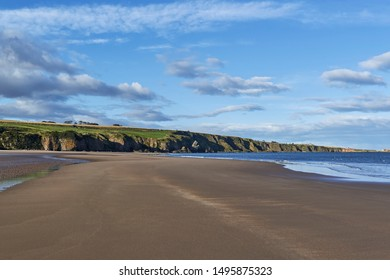 The empty Beach at St Cyrus National Nature Reserve in Aberdeenshire, on one fine Autumn afternoon at low tide, the sands stretching into the Cliffs in the distance.