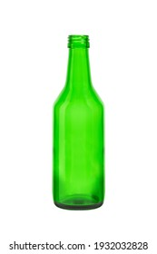Empty beer bottle, Green beer bottle, Green decanter isolated on white background